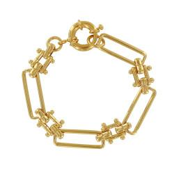 Bracelet Plaqué Or Mailles Rectangles et Carrés Billes