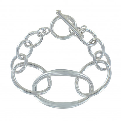 Bracelet Argent Grosse Gourmette Mailles Ovales Fermoir T