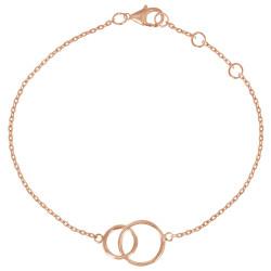 Bracelet Plaqué Or Rose Deux Cercles