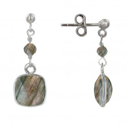 Boucles d'Oreilles Argent Perle et Pavé de Labradorite Facetté