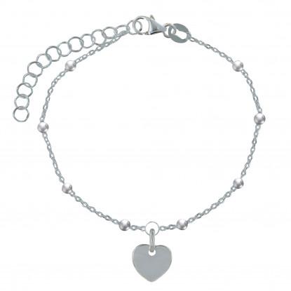 Bracelet Argent Petite Perle et Breloque Coeur