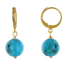 Boucles d'Oreilles Mini Créoles Plaqué Or et Perle de Turquoise