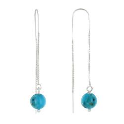 Boucles d'Oreilles Chainette Argent et Perles de Turquoise