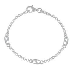 Bracelet Argent Maillons Ronds et 3 Anneaux Marins