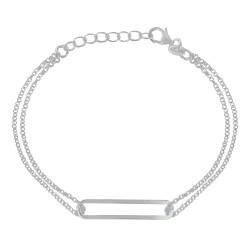 Bracelet Argent Double Chaines et Rectangle Ajouré
