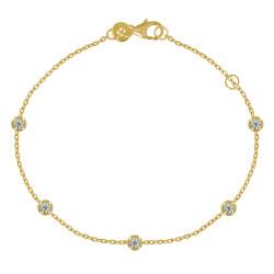 Bracelet Plaqué Or Cinq Petits Strass Ronds