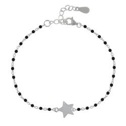 Bracelet Argent Petites Perles Émaillées et Etoile
