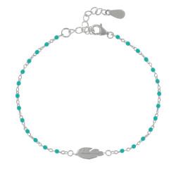 Bracelet Argent Petites Perles Émaillées et Plume