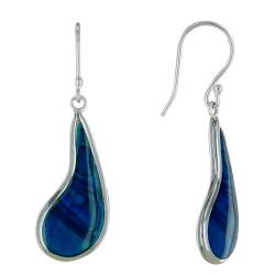 Boucles d'Oreilles Argent Larme Nacre Abalone Bleue