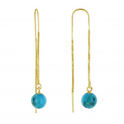 Boucles d'Oreilles Chainette Argent Doré et Perles de Turquoise