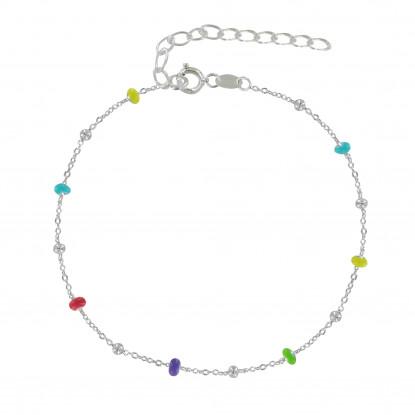 Bracelet Argent Perles Émaillées et Perles Argent - Petit Modèle