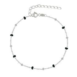 Bracelet Argent Perles Émaillées et Perles Argent - Petite Taille
