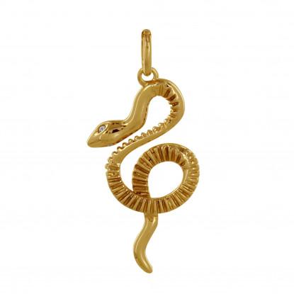 Pendentif Plaqué Or Serpent