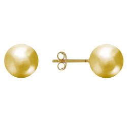 Boucles d'Oreilles Clou Plaqué Or Perles 12mm