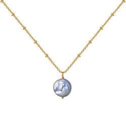 Collier Plaqué Or Perle de Nacre Plate