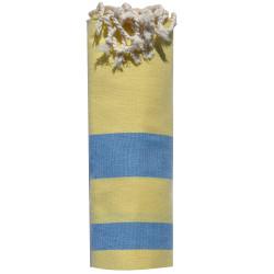 Fouta Drap Plage et Hammam Coton Jaune Rayé Bleu 100 x 200cm