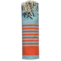 Fouta Drap Plage et Hammam Coton Bleu Ciel Bande et Petites Rayures Oranges 100 x 200cm