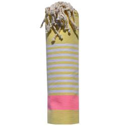 Fouta Drap Plage et Hammam Coton Jaune Bande Rose Fluo et Petites Rayures Blanches 100 x 200cm