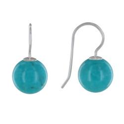 Boucles d'Oreilles Argent Billes de Turquoise