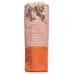 Fouta Drap Plage et Hammam Coton Nid d'Abeille Fluo Petites Rayures Blanches 100 x 200cm