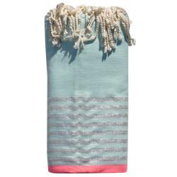 Fouta Drap Plage et Hammam Coton Vert d'Eau Bande Rose Fluo et Petites Rayures Lurex Argent 200 x 200cm