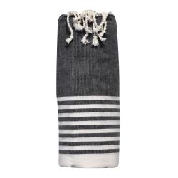 Grand Fouta Drap Plage et Hammam Coton Petites Rayures Blanches 150 x 250cm