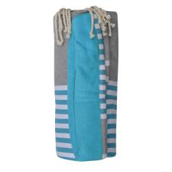Fouta Eponge Turquoise Coton Gris Clair à Rayures Turquoises et Blanches 100 x 200cm