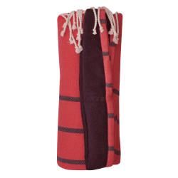 Fouta Eponge Bleu Marine Coton Rouge aux Lignes Bleu Marine 100 x 200cm