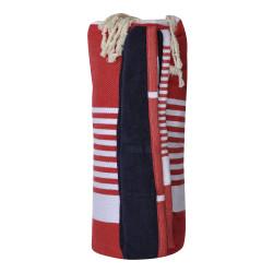Fouta Eponge Bleu Marine Coton Rouge Bande et Petites Rayures Blanches 100 x 200cm