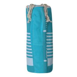 Fouta Eponge Turquoise Coton Turquoise Bande et Petites Rayures Blanches 100 x 200cm