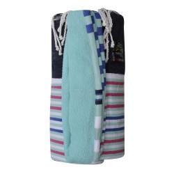 Fouta Eponge Vert d'Eau Coton Bleu Marine à Rayures Bleues Fuchsia et Blanches 100 x 200cm