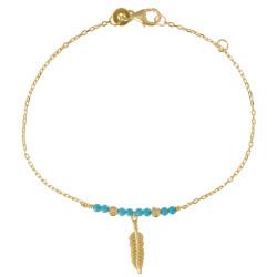 Bracelet Plaqué Or Plume et Perles Turquoise