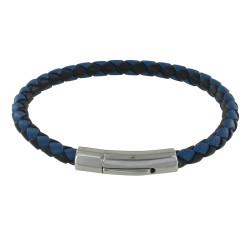 Bracelet Homme Cuir Tréssé Rond Bicolore 19cm