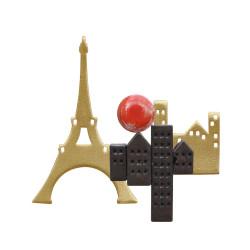 Broche Laiton Paris Petites Maisons en Porcelaine
