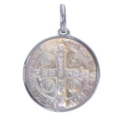 Pendentif Argent Rhodié et Nacre Médaille Ronde Croix de Saint Benoit