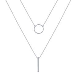 Collier Double Chaine Argent Cercle et Baguette