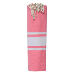 Fouta Drap Plage et Hammam Coton Couleur Rose Fluo 100 x 200cm