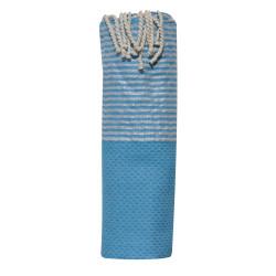 Fouta Drap Plage et Hammam Coton Nid d'Abeille Bleu Mer Petites Rayures Lurex Argent 100 x 200cm