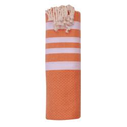 Fouta Drap Plage et Hammam Coton Nid d'Abeille Orange 4 Bandes Blanches 100 x 200cm