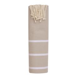 Fouta Drap Plage et Hammam Coton Couleur Beige Petites Rayures Blanches 100 x 200cm