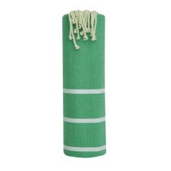Fouta Drap Plage et Hammam Coton Couleur Vert Petites Rayures Blanches 100 x 200cm