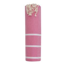 Fouta Drap Plage et Hammam Coton Couleur Fuchsia Petites Rayures Blanches 100 x 200cm