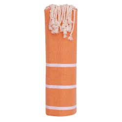 Fouta Drap Plage et Hammam Coton Couleur Orange Petites Rayures Blanches 100 x 200cm