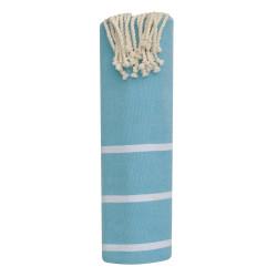 Fouta Drap Plage et Hammam Coton Couleur Turquoise Petites Rayures Blanches 100 x 200cm