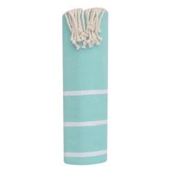 Fouta Drap Plage et Hammam Coton Couleur Turquoise Clair Petites Rayures Blanches 100 x 200cm