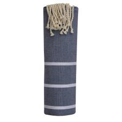 Fouta Drap Plage et Hammam Coton Couleur Bleu Marine Petites Rayures Blanches 100 x 200cm