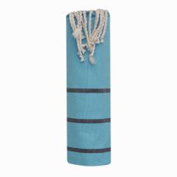 Fouta Drap Plage et Hammam Coton Couleur Turquoise Petites Rayures Noires 100 x 200cm