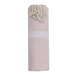 Fouta Drap Plage et Hammam Coton Nid d'Abeille Rose Clair avec Bande Blanche 100 x 200cm
