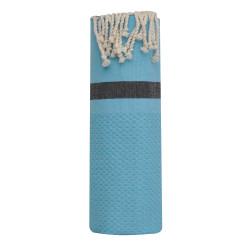 Fouta Drap Plage et Hammam Coton Nid d'Abeille Turquoise avec Bande Noire 100 x 200cm