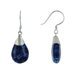 Boucles d'Oreilles Argent Goutte Bombée Coquillage Teinté Bleu